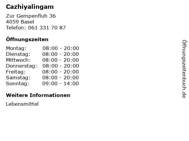 Cazhiyalingam in Basel: Adresse und Öffnungszeiten
