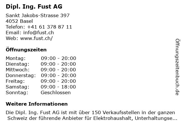 Dipl. Ing. Fust AG in Basel: Adresse und Öffnungszeiten