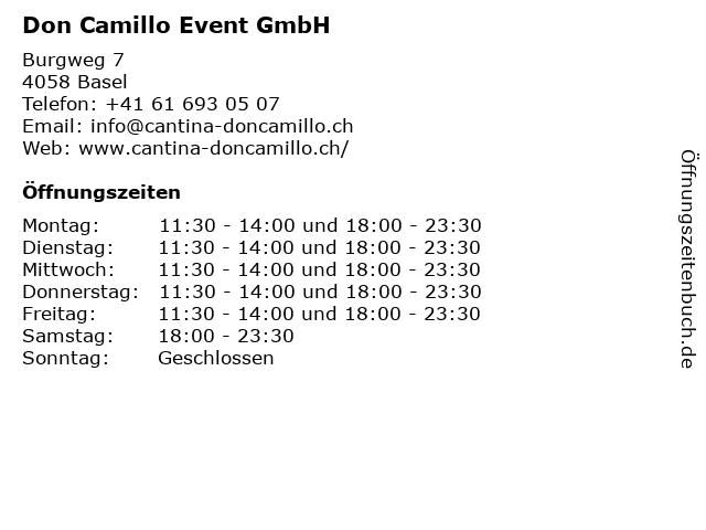 Don Camillo Event GmbH in Basel: Adresse und Öffnungszeiten