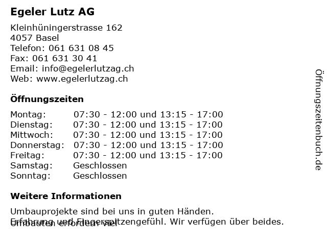 Egeler Lutz AG in Basel: Adresse und Öffnungszeiten