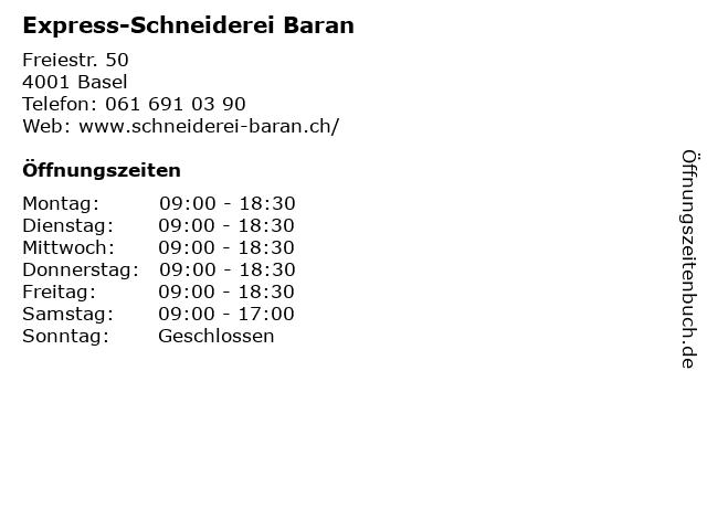 Express-Schneiderei Baran in Basel: Adresse und Öffnungszeiten