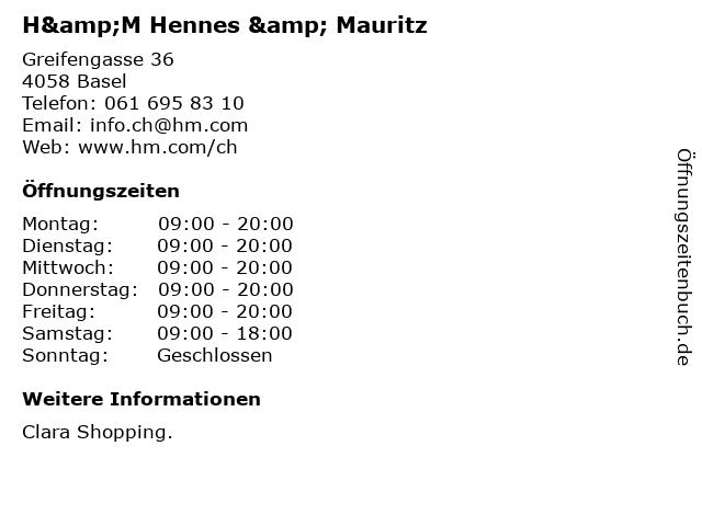 H&M Hennes & Mauritz in Basel: Adresse und Öffnungszeiten