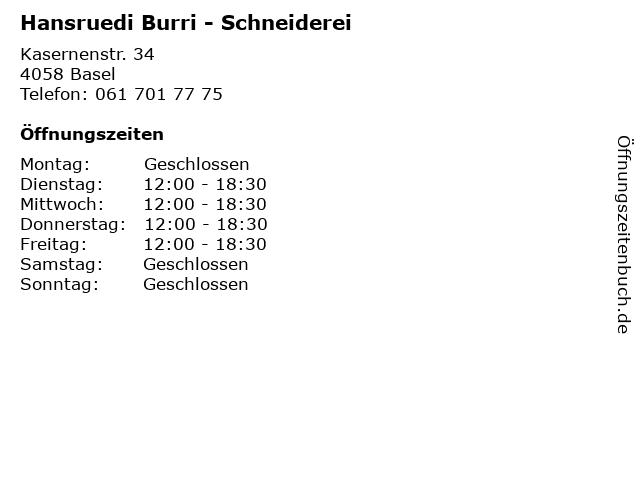 Hansruedi Burri - Schneiderei in Basel: Adresse und Öffnungszeiten