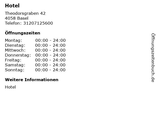 Hotel in Basel: Adresse und Öffnungszeiten