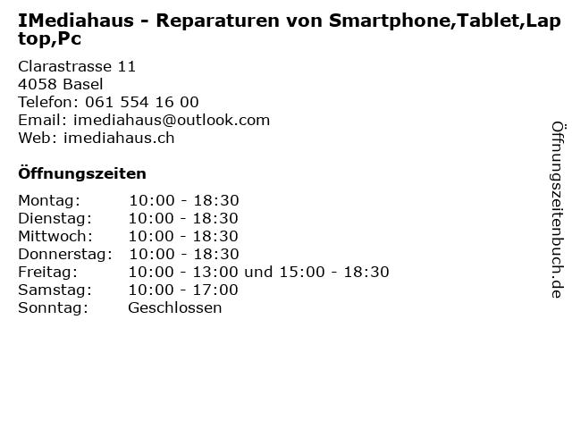 IMediahaus - Reparaturen von Smartphone,Tablet,Laptop,Pc in Basel: Adresse und Öffnungszeiten