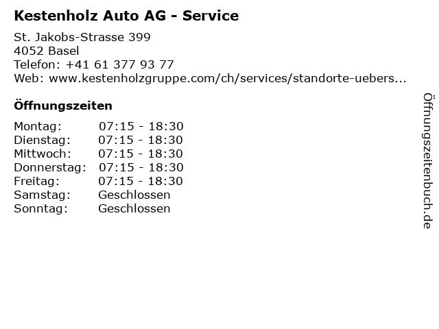 Kestenholz Auto AG - Service in Basel: Adresse und Öffnungszeiten