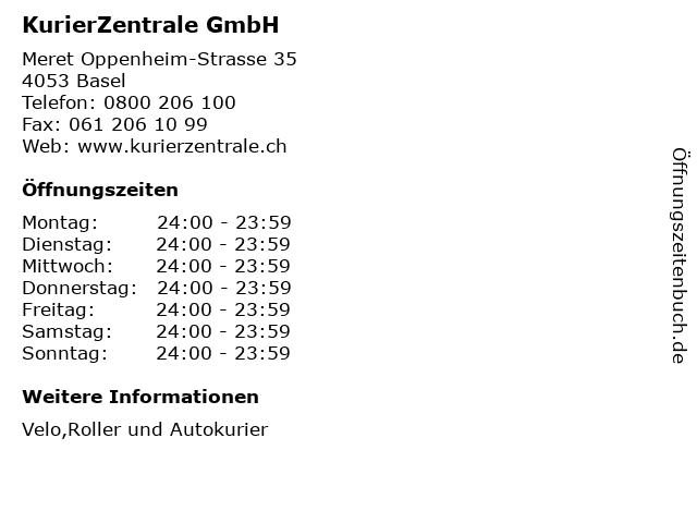 KurierZentrale GmbH in Basel: Adresse und Öffnungszeiten