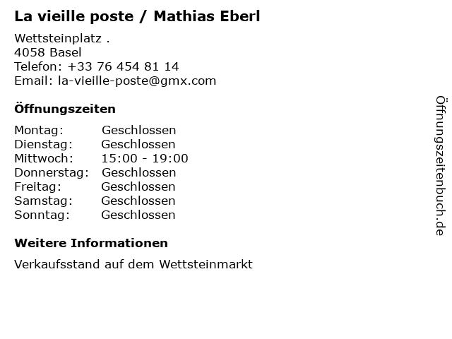 La vieille poste / Mathias Eberl in Basel: Adresse und Öffnungszeiten