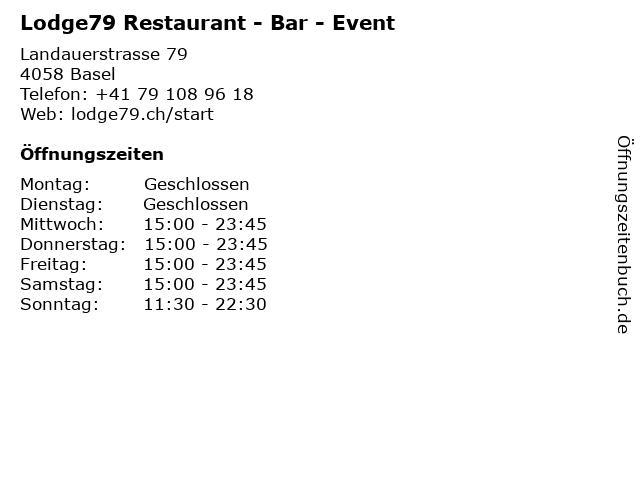 Lodge79 Restaurant - Bar - Event in Basel: Adresse und Öffnungszeiten