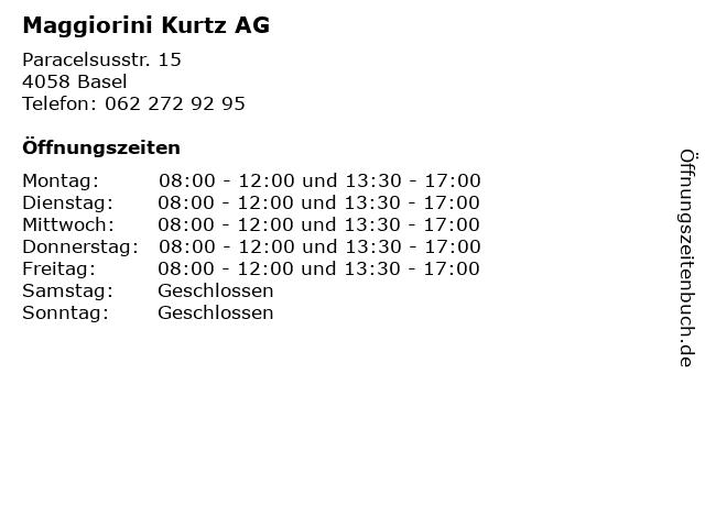 Maggiorini Kurtz AG in Basel: Adresse und Öffnungszeiten