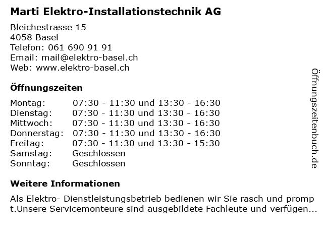 Marti Elektro-Installationstechnik AG - Bürozeiten in Basel: Adresse und Öffnungszeiten