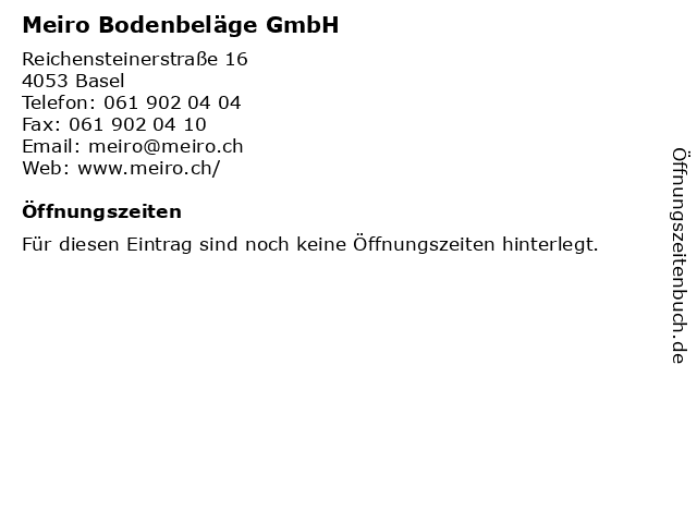 Meiro Bodenbeläge GmbH in Basel: Adresse und Öffnungszeiten