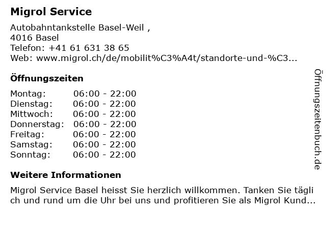 Migrol Service in Basel: Adresse und Öffnungszeiten