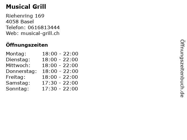 Musical Grill in Basel: Adresse und Öffnungszeiten