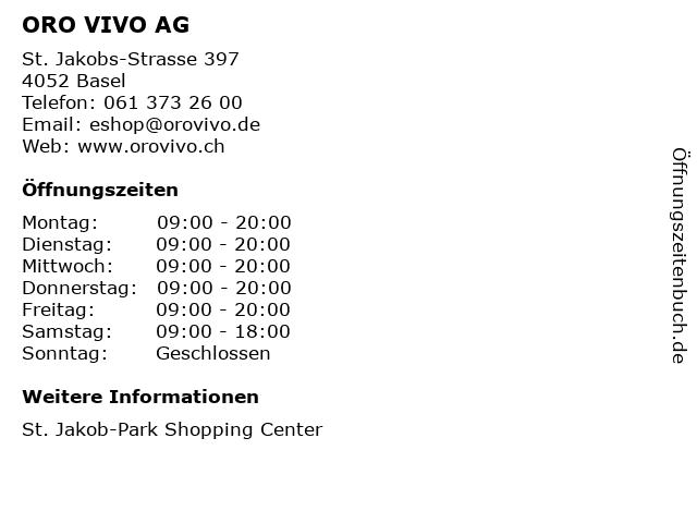 ORO VIVO AG in Basel: Adresse und Öffnungszeiten