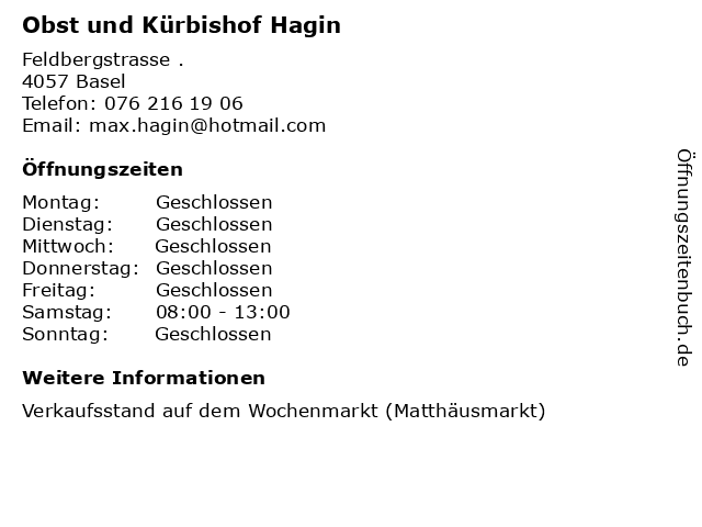 Obst und Kürbishof Hagin in Basel: Adresse und Öffnungszeiten
