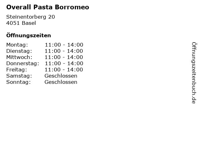 Overall Pasta Borromeo in Basel: Adresse und Öffnungszeiten