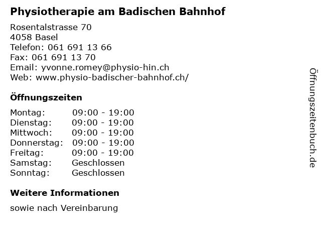 Physiotherapie am Badischen Bahnhof in Basel: Adresse und Öffnungszeiten