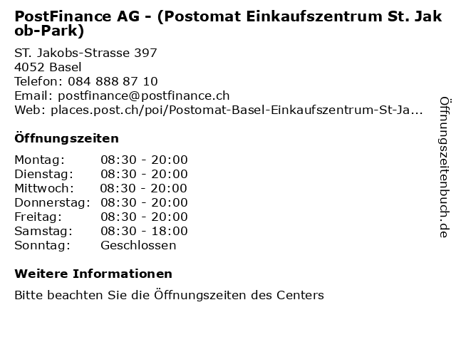 PostFinance AG - (Postomat Einkaufszentrum St. Jakob-Park) in Basel: Adresse und Öffnungszeiten