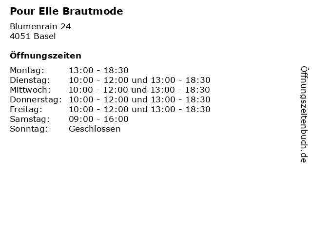 ᐅ Offnungszeiten Pour Elle Brautmode Blumenrain 24 In Basel