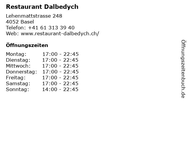 Restaurant Dalbedych in Basel: Adresse und Öffnungszeiten
