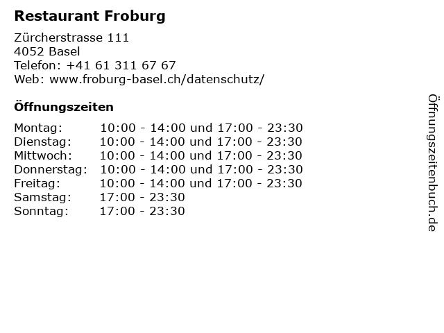 Restaurant Froburg in Basel: Adresse und Öffnungszeiten