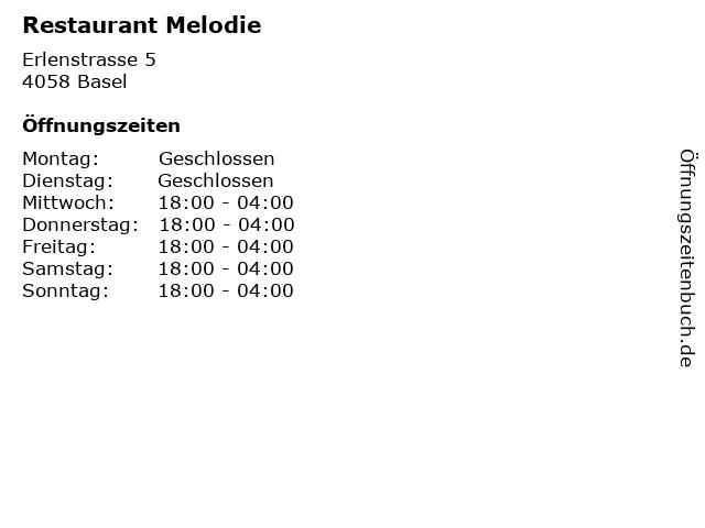 Restaurant Melodie in Basel: Adresse und Öffnungszeiten
