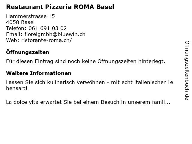 Restaurant Pizzeria ROMA Basel in Basel: Adresse und Öffnungszeiten