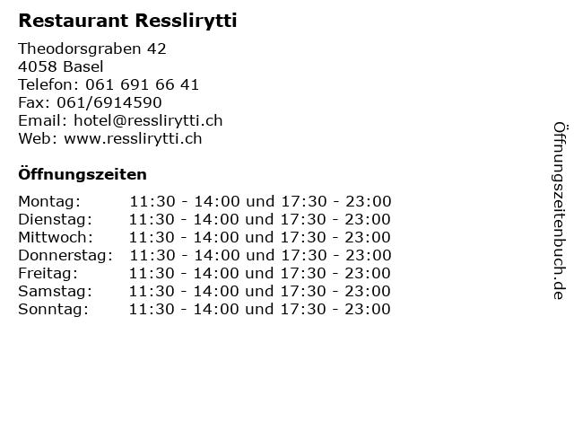 Restaurant Resslirytti in Basel: Adresse und Öffnungszeiten