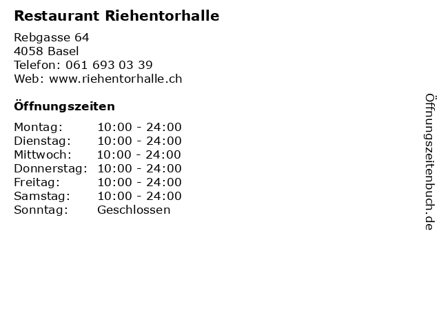 Restaurant Riehentorhalle in Basel: Adresse und Öffnungszeiten