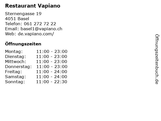 Restaurant Vapiano in Basel: Adresse und Öffnungszeiten