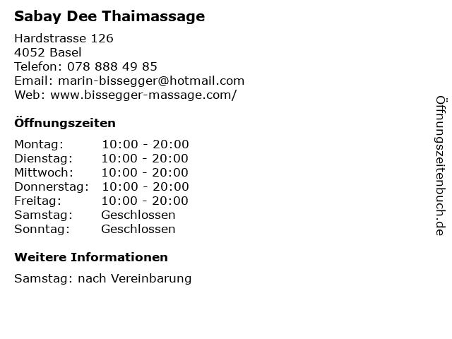 Sabay Dee Thaimassage in Basel: Adresse und Öffnungszeiten