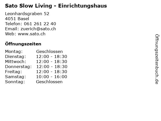 Sato Slow Living - Einrichtungshaus in Basel: Adresse und Öffnungszeiten