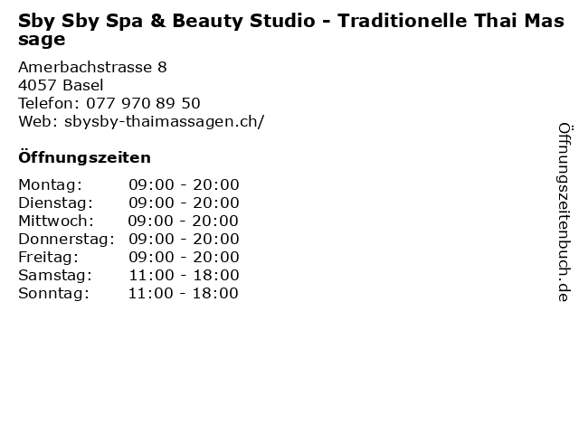 Sby Sby Spa & Beauty Studio - Traditionelle Thai Massage in Basel: Adresse und Öffnungszeiten