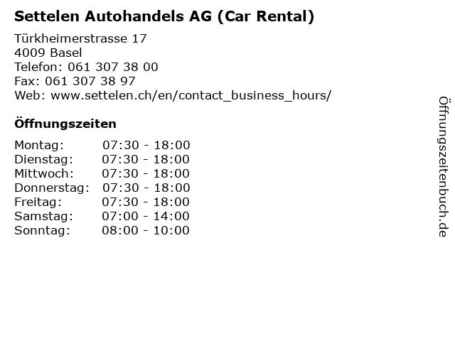 Settelen Autohandels AG (Car Rental) in Basel: Adresse und Öffnungszeiten