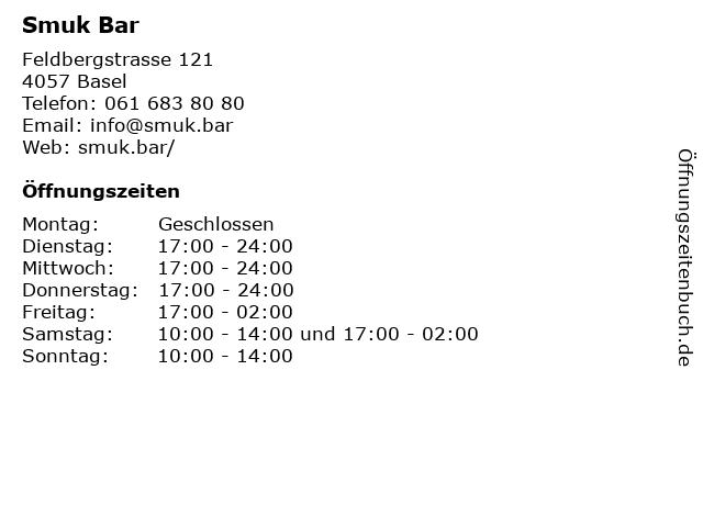 Smuk Bar in Basel: Adresse und Öffnungszeiten