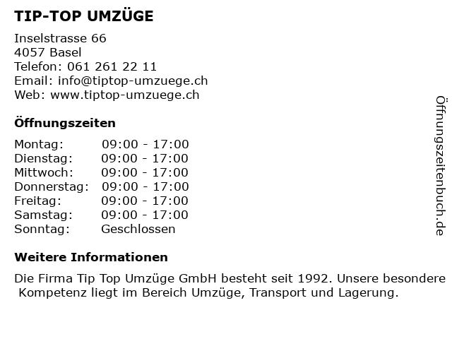 TIP-TOP UMZÜGE in Basel: Adresse und Öffnungszeiten