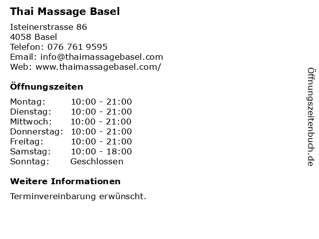 Thai Massage Basel in Basel: Adresse und Öffnungszeiten