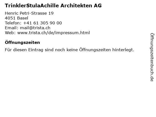 TrinklerStulaAchille Architekten AG in Basel: Adresse und Öffnungszeiten