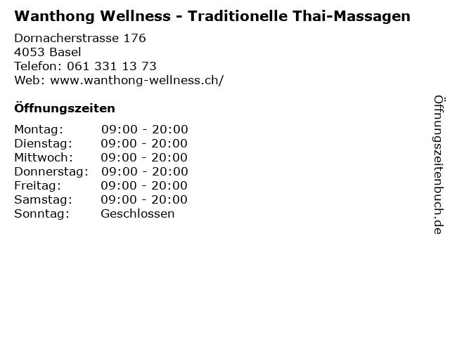 Wanthong Wellness - Traditionelle Thai-Massagen in Basel: Adresse und Öffnungszeiten