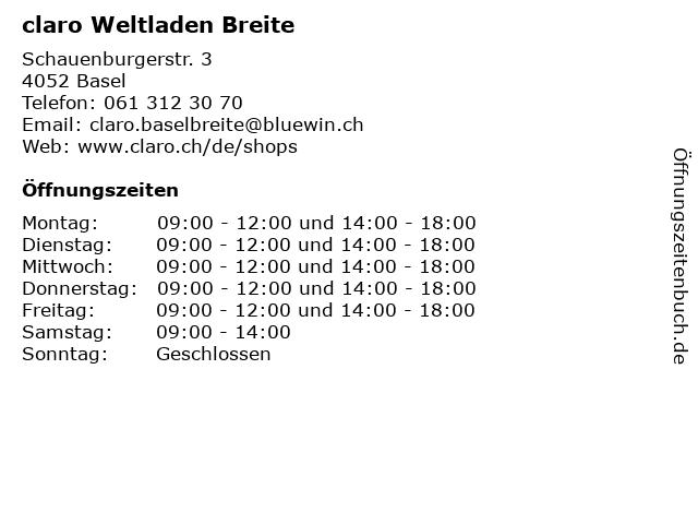 claro Weltladen Breite in Basel: Adresse und Öffnungszeiten