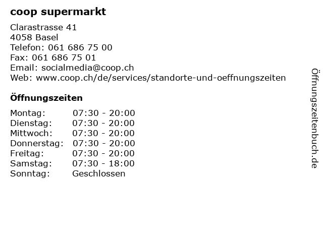 coop supermarkt in Basel: Adresse und Öffnungszeiten