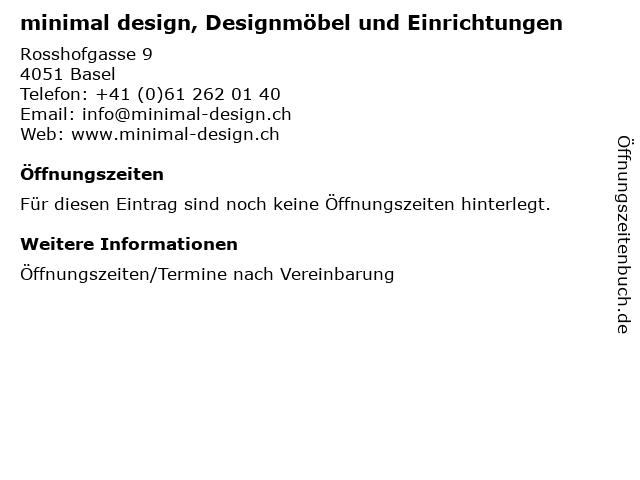 minimal design, Designmöbel und Einrichtungen in Basel: Adresse und Öffnungszeiten