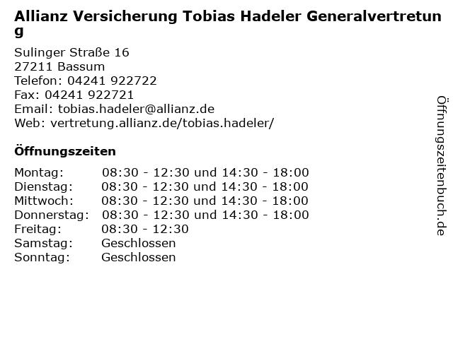 Allianz Versicherung - Tobias Hadeler Generalvertretung in Bassum: Adresse und Öffnungszeiten
