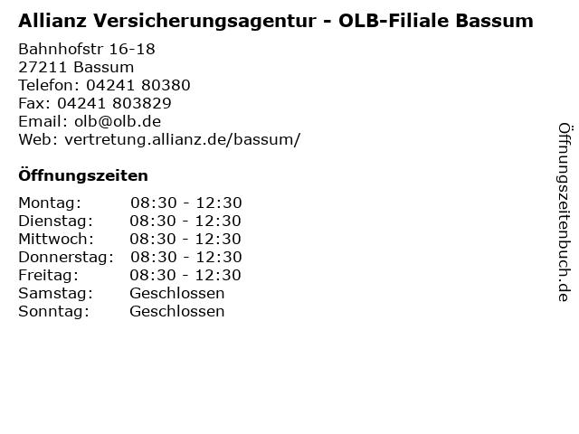 Allianz Versicherungsagentur - OLB-Filiale Bassum in Bassum: Adresse und Öffnungszeiten