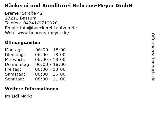Bäckerei und Konditorei Behrens-Meyer GmbH in Bassum: Adresse und Öffnungszeiten