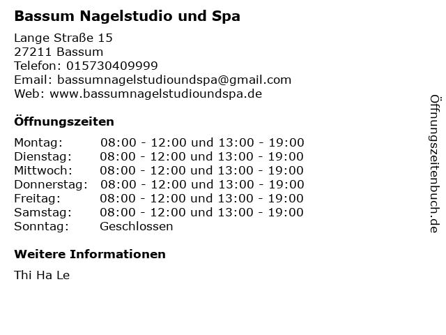 Bassum Nagelstudio und Spa in Bassum: Adresse und Öffnungszeiten