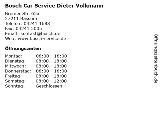 Bosch Car Service Dieter Volkmann in Bassum: Adresse und Öffnungszeiten