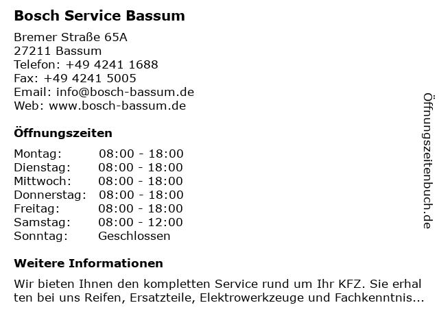 Bosch Service Bassum in Bassum: Adresse und Öffnungszeiten