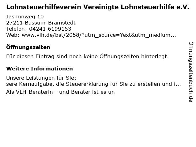 Vereinigte Lohnsteuerhilfe e.V. in Bassum-Bramstedt: Adresse und Öffnungszeiten